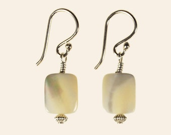 White Mother of Pearl Shell Drop Earrings Spring Summer Beach Wedding Jewelry Birthday Gift for Her Minimalist Artisan Sterling Silver