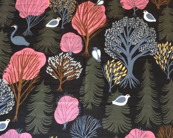 "Marimekko Korpi, Brown, pink green gray, 1 meter, 40"" x 56"""