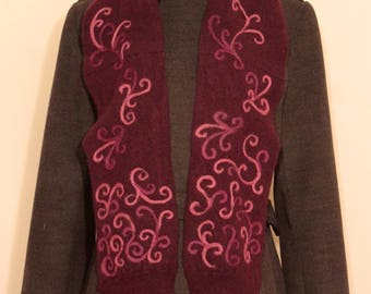 Mulberry colored 100% Cashmere Scarf with Aubergine and Mauve Scrolls.  SCFC103