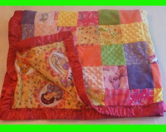 Patchwork Crib Quilt - Disney Princesses Fleece, raspberry blanket binding