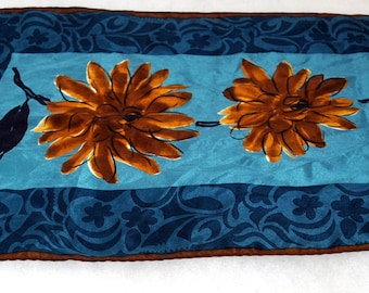 Vera Oblong Rectangular Scarf - All Silk  - Flower Print in Blues with Brown and Black
