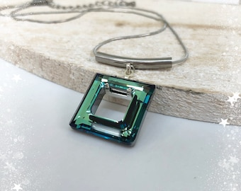 Pendant necklace square Swarovski® and steel - blue/green