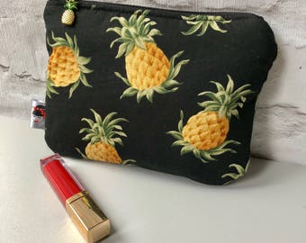 Pineapple Print Cosmetic Bag Rockabilly Pinup
