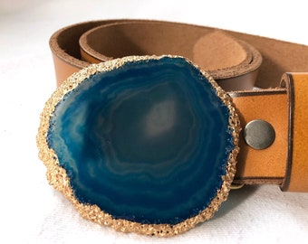 Deep Ocean Blue Agate Slice with Gold Leaf Belt Buckle