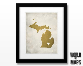 Michigan Map Print - Home Town Love - Personalized Art Print