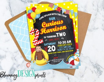Curious George POOL Party Birthday Invitation