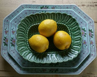 2 English Painted Stoneware Platters Majolica Bowl and 1 bowl, made in Portugal