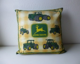 Vintage 70s John Deere Moline ILL Waterloo Boy Tractor Cotton Pillow Yellow Green Plaid Retro Farming Wheat Farm Farmer USA Boho Glam Garb
