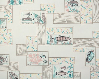 1950s Vintage Wallpaper by the Yard - Retro Bathroom Wallpaper with Aqua Blue and Pink Fish