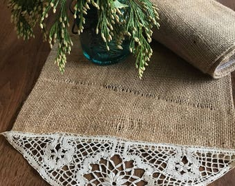 Modern farmhouse table centerpiece runner from recycled coffee bag burlap and vintage crocheted trim