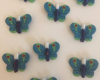 Hand painted Holzknof butterfly as button or for tinkering Supersweet in blue