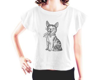 Meow tshirt cat shirt cat top kitten tshirt cute top women graphic shirt slogan tshirt cool tee women t shirt crop top crop shirt size S