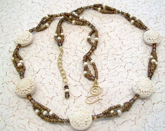 Ivory and Brown Chrysanthemum Flower Motif Multistrand Necklace by Carol Wilson of Je t'adorn