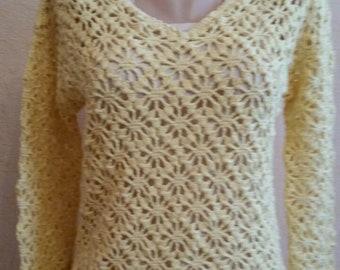 New HANDMADE Pullover 100% COTTON Sweater Cream Top HAND Knit Tunic Soft Jumper Knitted V-Neck Long Sleeve Sweatshirt Hygroscopic Dress S M