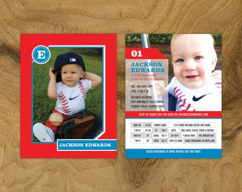 Printable Custom First Birthday Invitation Baseball Theme