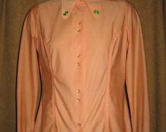 Polyester Blouse Long Sleeve Peach Orange 70s Vintage