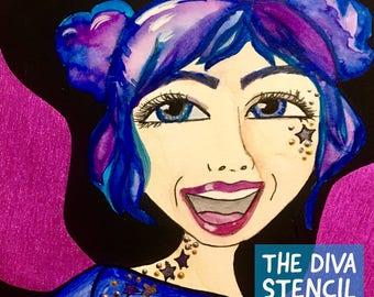 Rita Barakat -The Diva stencil, stencils for art, stencils for painting, face stencil, stencil journal, art stencils