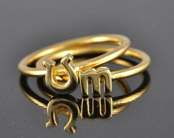 10K Gold Horseshoe Ring, stacking ring, lucky ring, good luck ring, gold ring