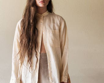 Linen Lemon Cream Blouse | Minimalistic 90s Linen Button Up Blouse