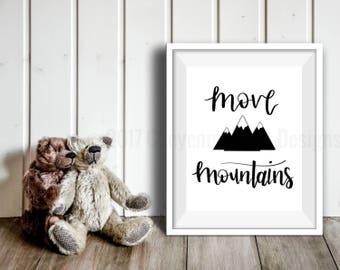 Black Move Mountains Print, Mountains Wall Art, Nursery Print, Kids Room Art