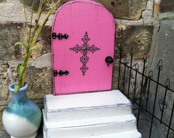 Pink Fairy Door, with a set of white stairs, handmade, cross, unique gift, imaginative play.
