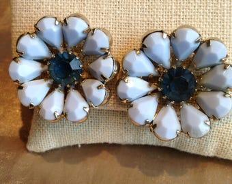 Weiss Pale Blue Milk Glass Earrings