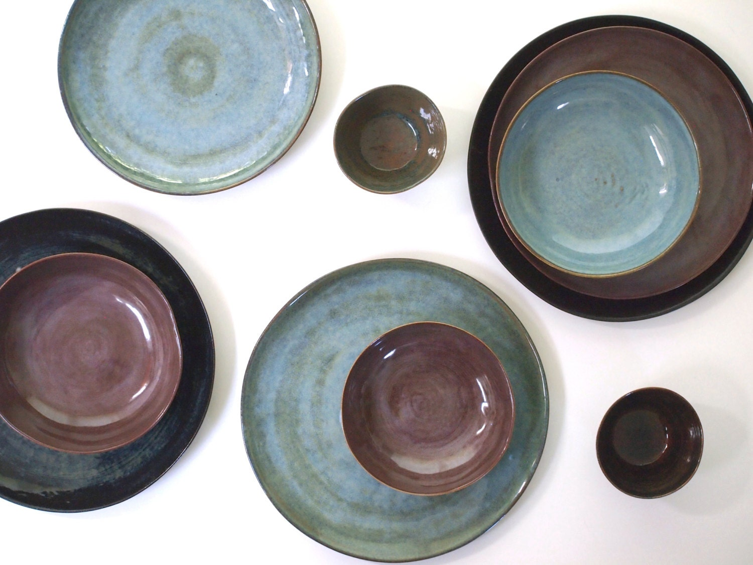 🔎zoom & Stoneware Dinnerware Set in four colors. Stoneware Dishes.