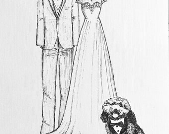 Custom Wedding Sketch- Bride and Groom