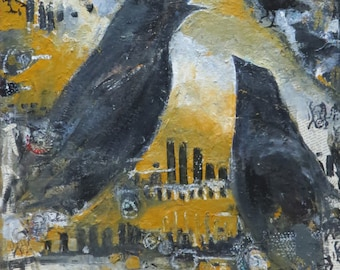 "Original Mixed Media Oil Painting, ""Crow Town USA"" Signed, Lydia Velarde"