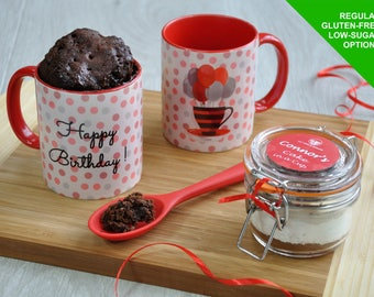 Baking Kit, Happy birthday, Gluten dairy free,  mug cake kit, birthday for him, birthday gift her, sweet tooth, microwave cake, chocoholic