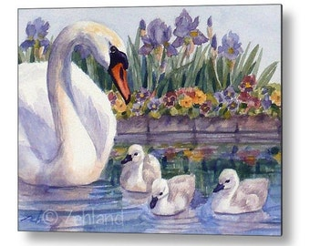 Swan Print on Wood, Kids Wall Art, Printed Animal Nursery Child Room Decor by Janet Zeh Zehland