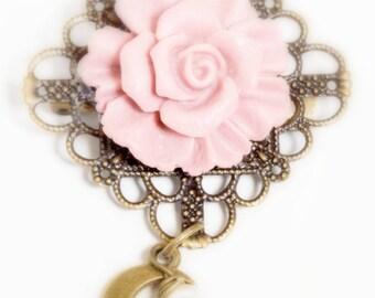 Vintage Rose Flower Brooch with Antiqued Bronze Filigree Backing