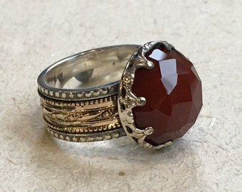 Carnelian ring, wedding band, Silver gold ring, gypsy spinner ring, meditation ring, two tone ring,  filigree ring - Into The Mist R2305-3