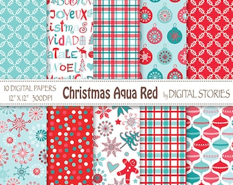 "Christmas Digital Paper: ""CHRISTMAS AQUA RED"" Scrapbook paper with retro Christmas ornaments, text, snowflakes, plaid for invites, cards"