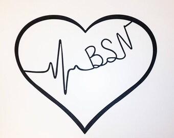 Metal Heart Wall Art / Gift for Nurse / Nurse's Week / Cna Lpn Rn Bsn Aprn Np Cns Emt Rt Md Heartbeat / Nursing Graduation Gift / Registered