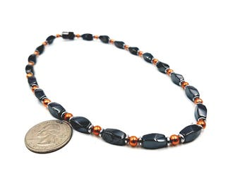 ANKLET || Magnetic Therapy || Classic Black with Copper Accents || Ankle Bracelet || Easy Use Clasp || Pain Relief || Wellness Health