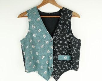 Vintage 1980's Vest with Geometric Pattern