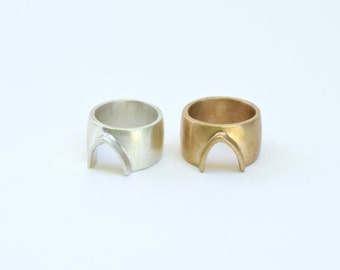 Gold Minimal Geometric Ring, Wide Arch Unisex Ring, Silver Men's Arc Ring, Minimal Wedding Band, Women's Wedding Ring | Abode Ring
