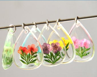 2pcs of clear resin drop pendant with real dry flower inside fresh pendan 35x25mm-0894--you can choose color