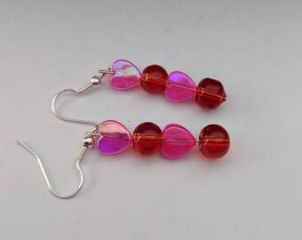 Pink heart earrings, red drop earrings, fun earrings, bright earrings, romantic earrings, Hawaii earrings, summer earrings, gifts for her