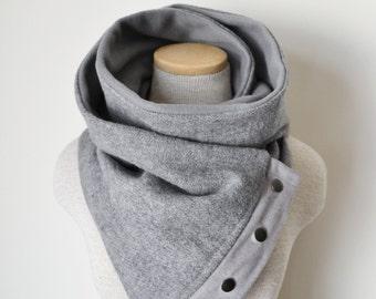 Unisex - Black and Grey Herringbone Snap Scarf