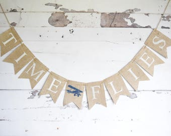 Plane Birthday Decor Time Flies Banner Vintage Airplane Baby Shower Decoration Nursery