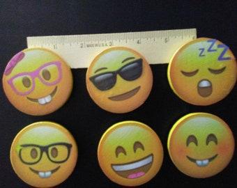 Emoji magnets, set of 6.