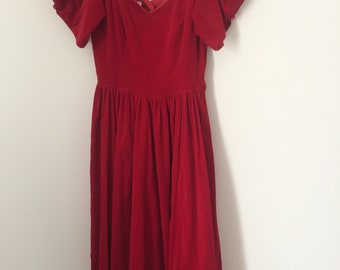Vintage 80's red velvet Laura Ashley dress size 10 puff sleeves prom evening party