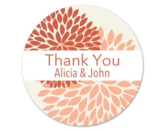 Personalized Thank You Stickers - Mums - Wedding Favor Labels - Flowers Wedding Stickers - Favor Labels - Choose Your Colors