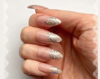 Pink and Silver Glitter Ombre Nails | Glitter Gradation Nails | Ombre Nails | Party Nails | Press On Nails | Pink and Silver Fake Nails