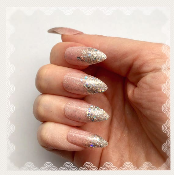 Pink and Silver Glitter Ombre Nails Glitter Gradation Nails