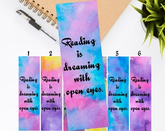 Bookmark - Reading is dreaming with open eyes - Bookish Quote
