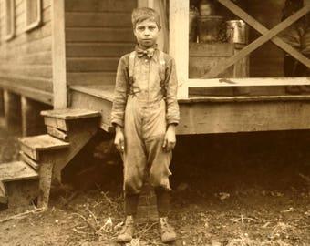 "1913 Young Mill Worker, Huntsville, Alabama Vintage Photograph 13"" x 19"" Reprint"