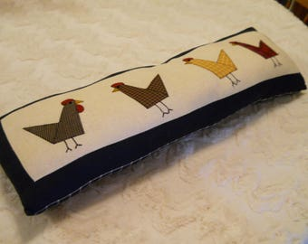 Patchwork Pillow Decorative Chickens Cute and Colorfull Perk Up a Chair or a Window Sill Checked Plaid on Reverse Side